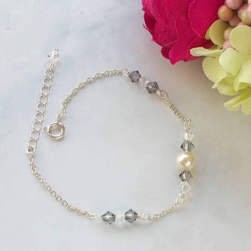 施華洛世奇水晶 珍珠手鍊 手工純銀手鍊 禮物訂製