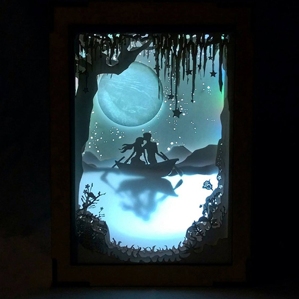   光影故事   紙雕小夜燈   月球下的我們  