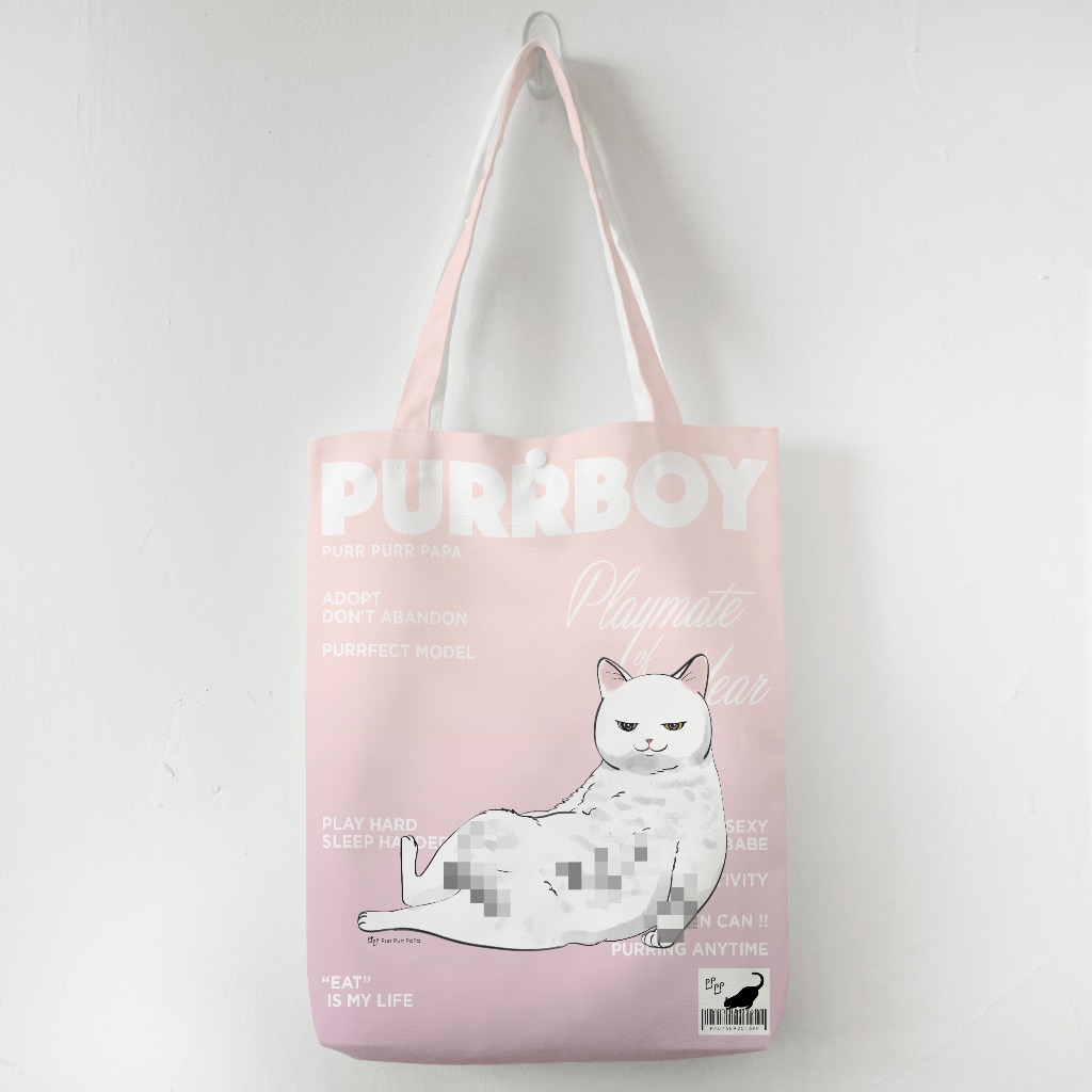 【花樣毛孩】白貓 Purrboy Tote bag - Whitey