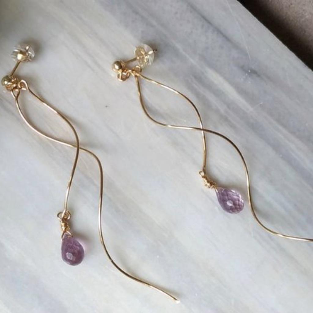 波光閃耀天然鑽面水滴型切割紫水晶14K包金耳環