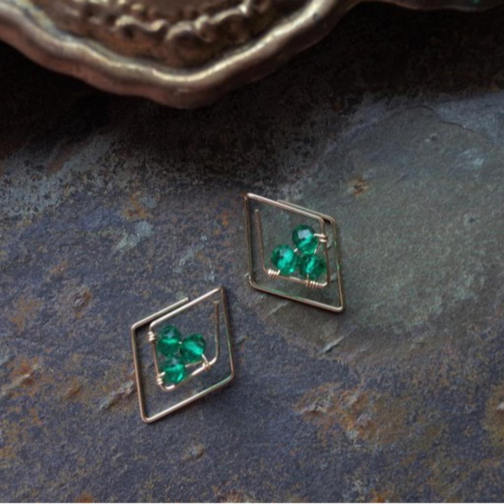 簡約時尚鑽型祖母綠石14K注金耳環