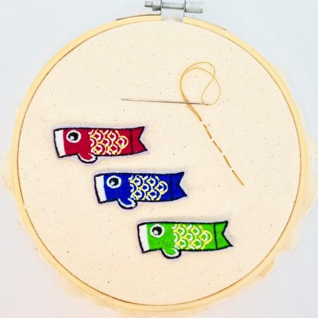 【鯉魚旗襟章】(日本篇)刺繡布章 日本襟章 手信 文青襟章  I044P