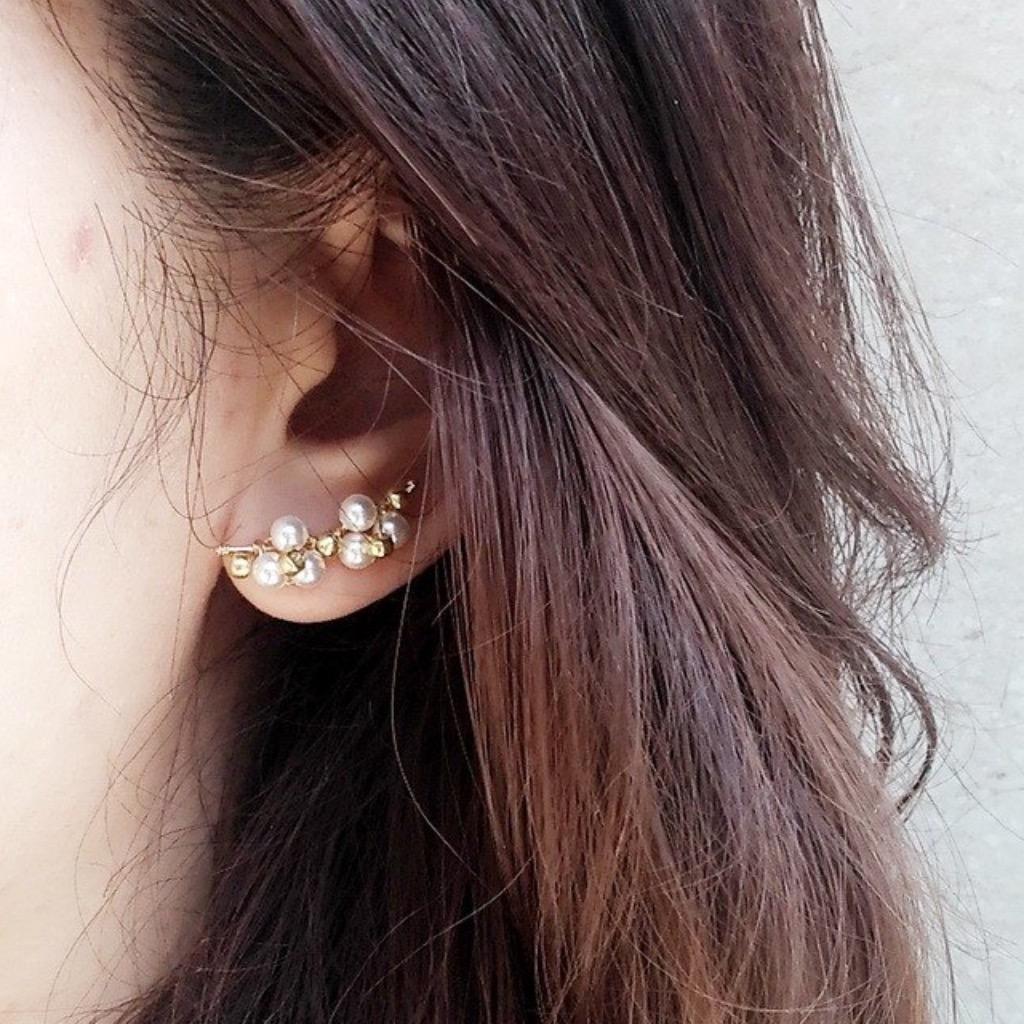 綻放的Swarovski珍珠14KGF 無痛耳環夾