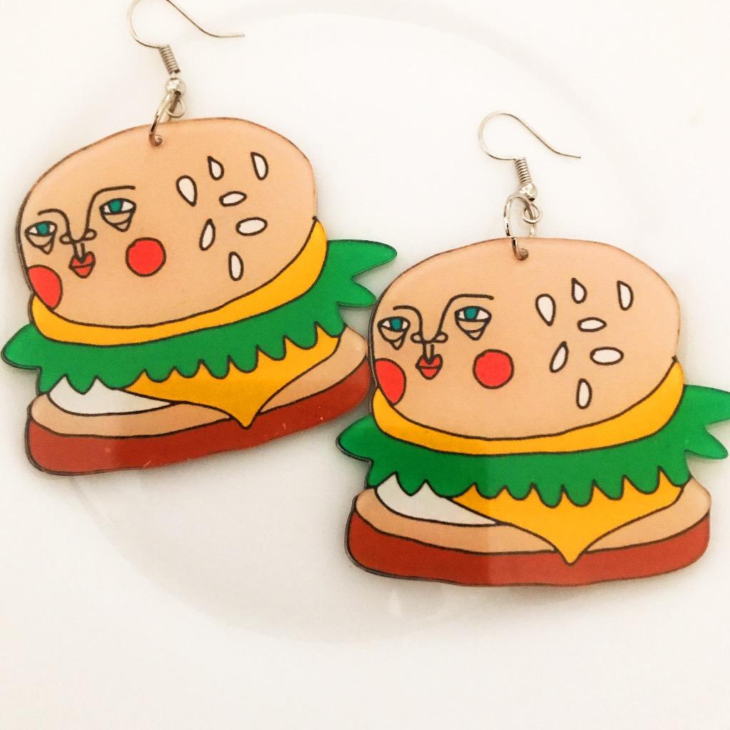 ISA FOODIE 漢堡包耳環