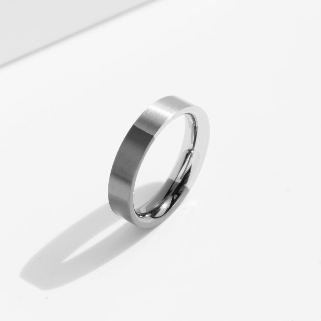 雙色磨砂鈦鋼戒指 | 灰