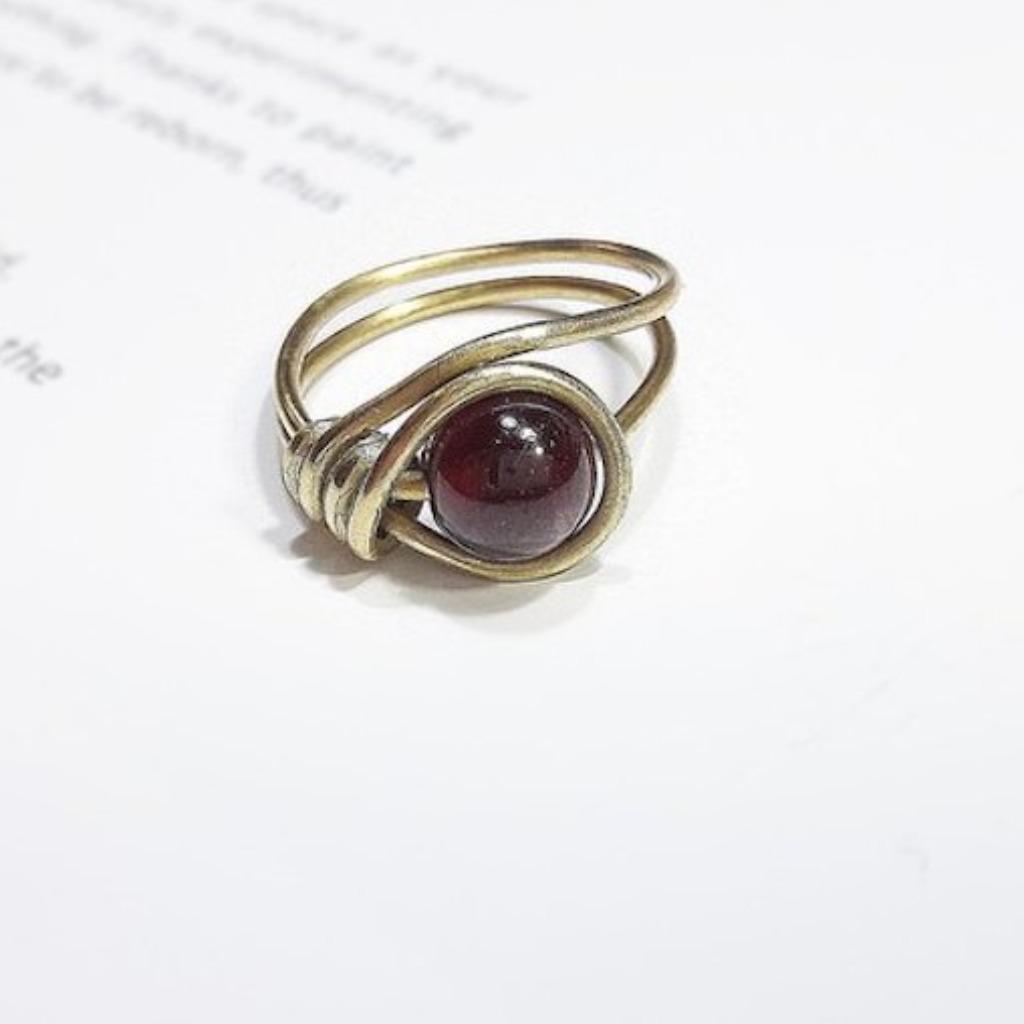 戒指 紅石榴石繞線黃銅戒指