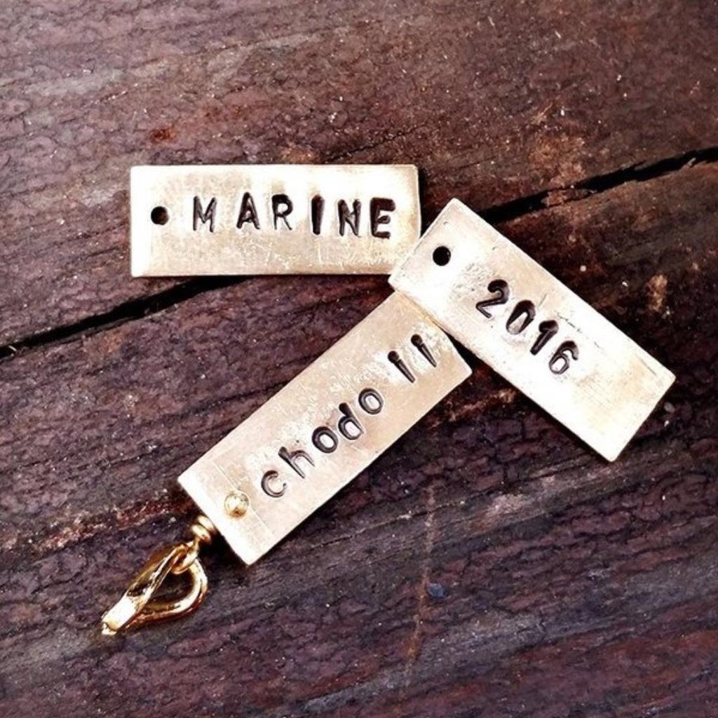 客製刻字黃銅長牌(大小寫英文 數字 愛心 星星)《情人節 聖誕節禮物》【客製化】