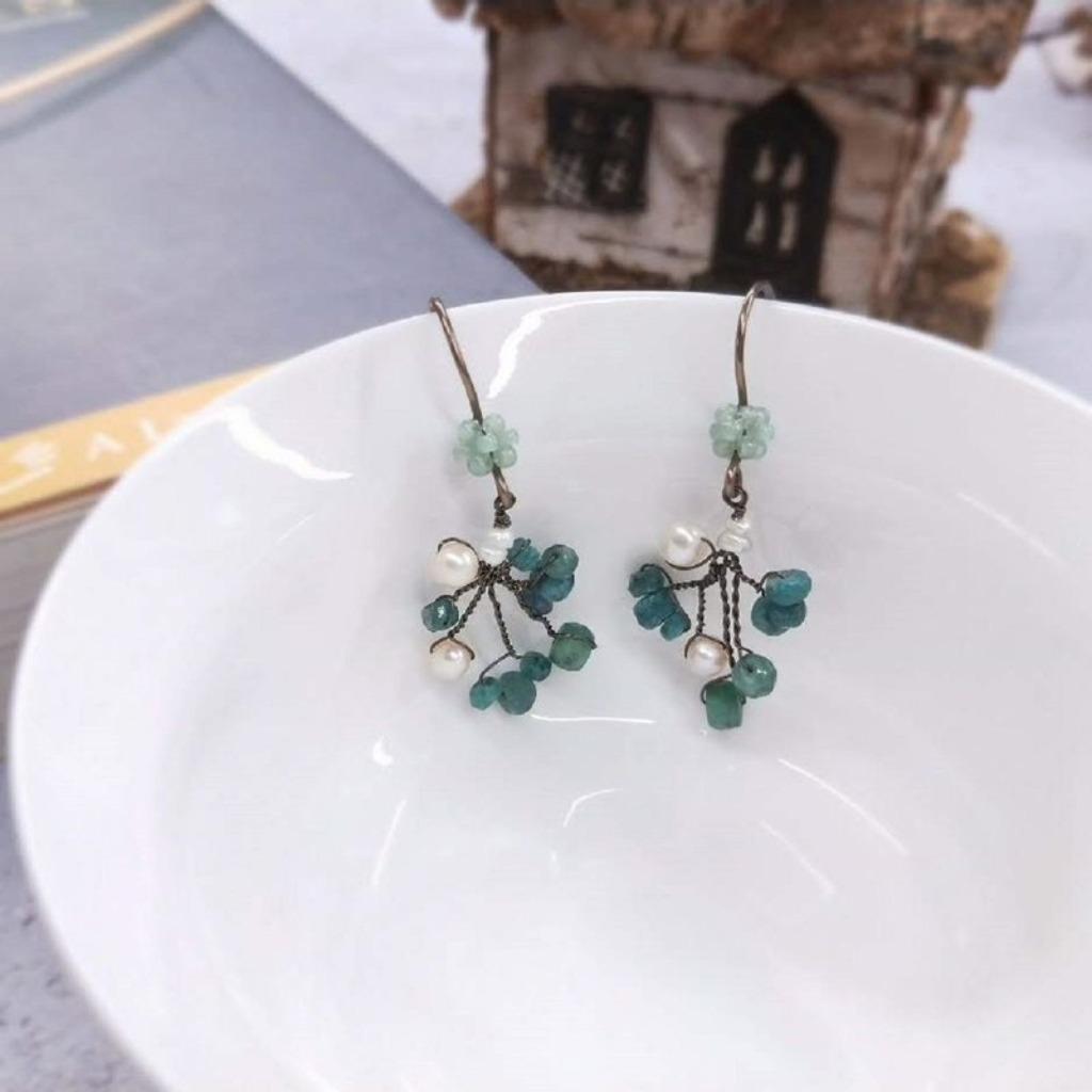 耳環 綠寶石 珍珠花樹耳勾耳環