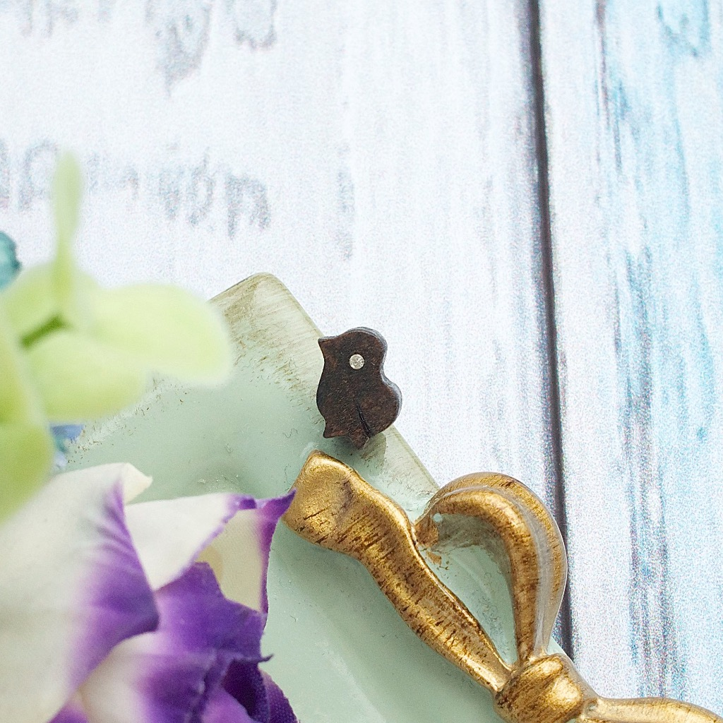 小雞 原木手工耳環 純銀耳針 單隻 禮物訂製