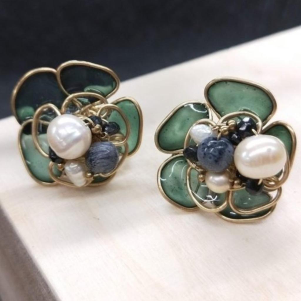 耳環 花嫁系列 花球珍珠 藍珊瑚手染樹脂耳針耳夾耳環