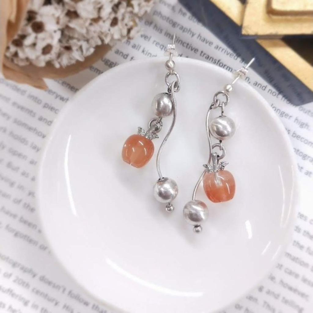【獨一商品】紅幽靈蘋果造型水晶 純銀耳針耳環