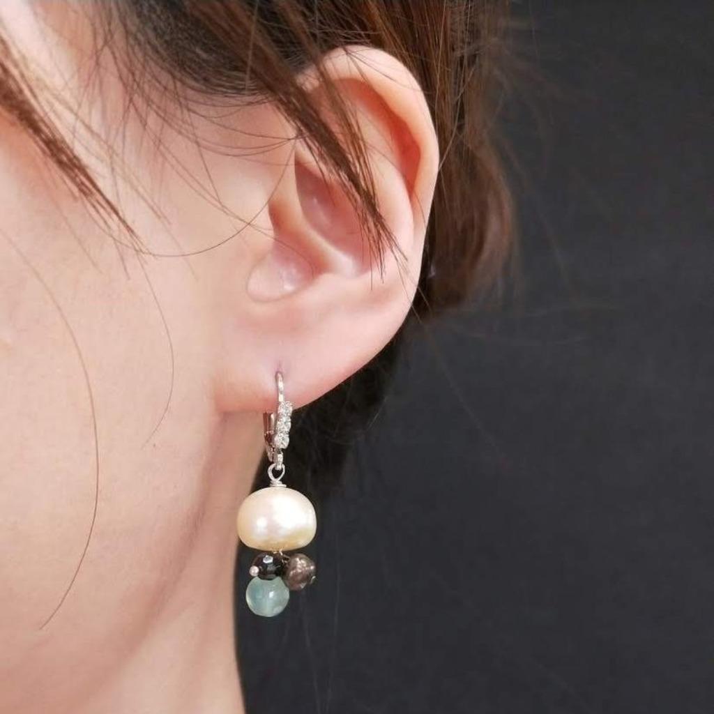 耳環 珍珠 鋯石 葡萄玉耳勾耳環