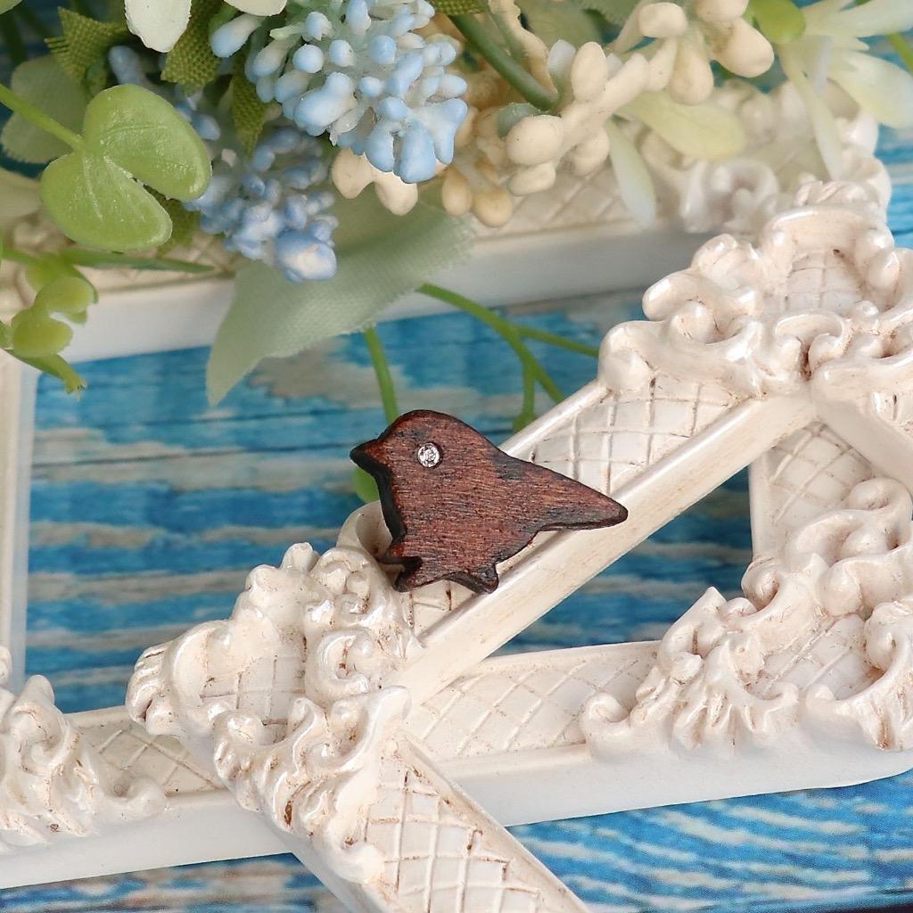 鳥 原木手工耳環 純銀耳針 單隻 禮物訂製