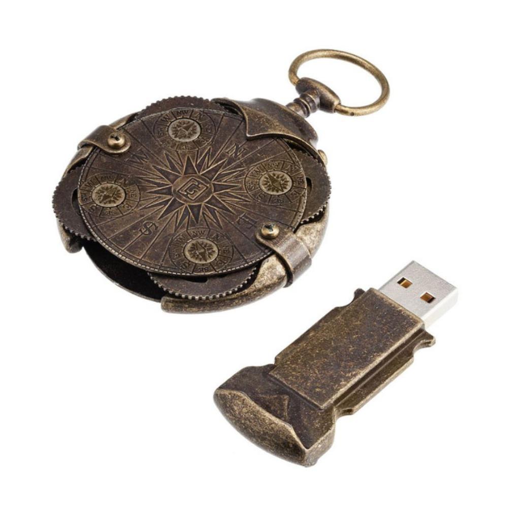 密碼隨身碟64GB USB Steampunk Cryptex Compass 古銅金