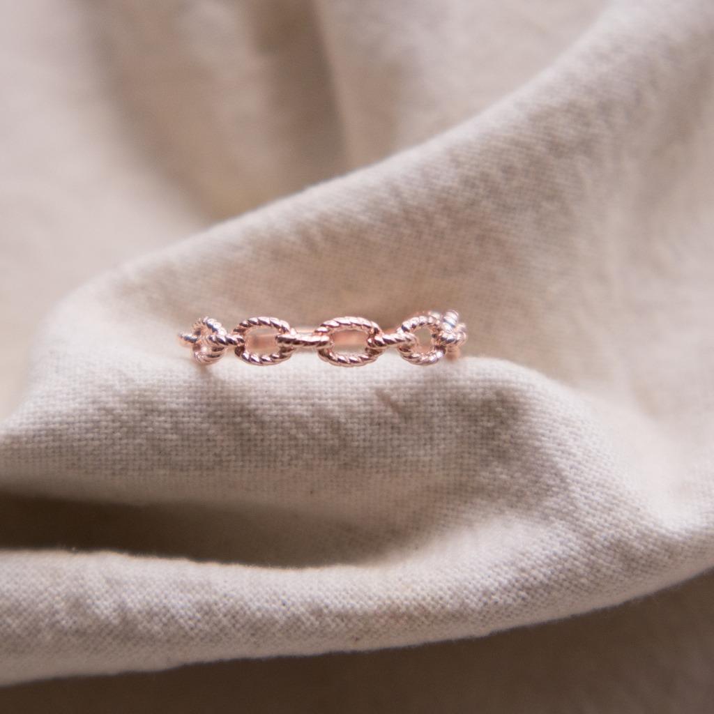 [433 Studio] 925 silver純銀半身圈圈戒指 - 玫瑰金