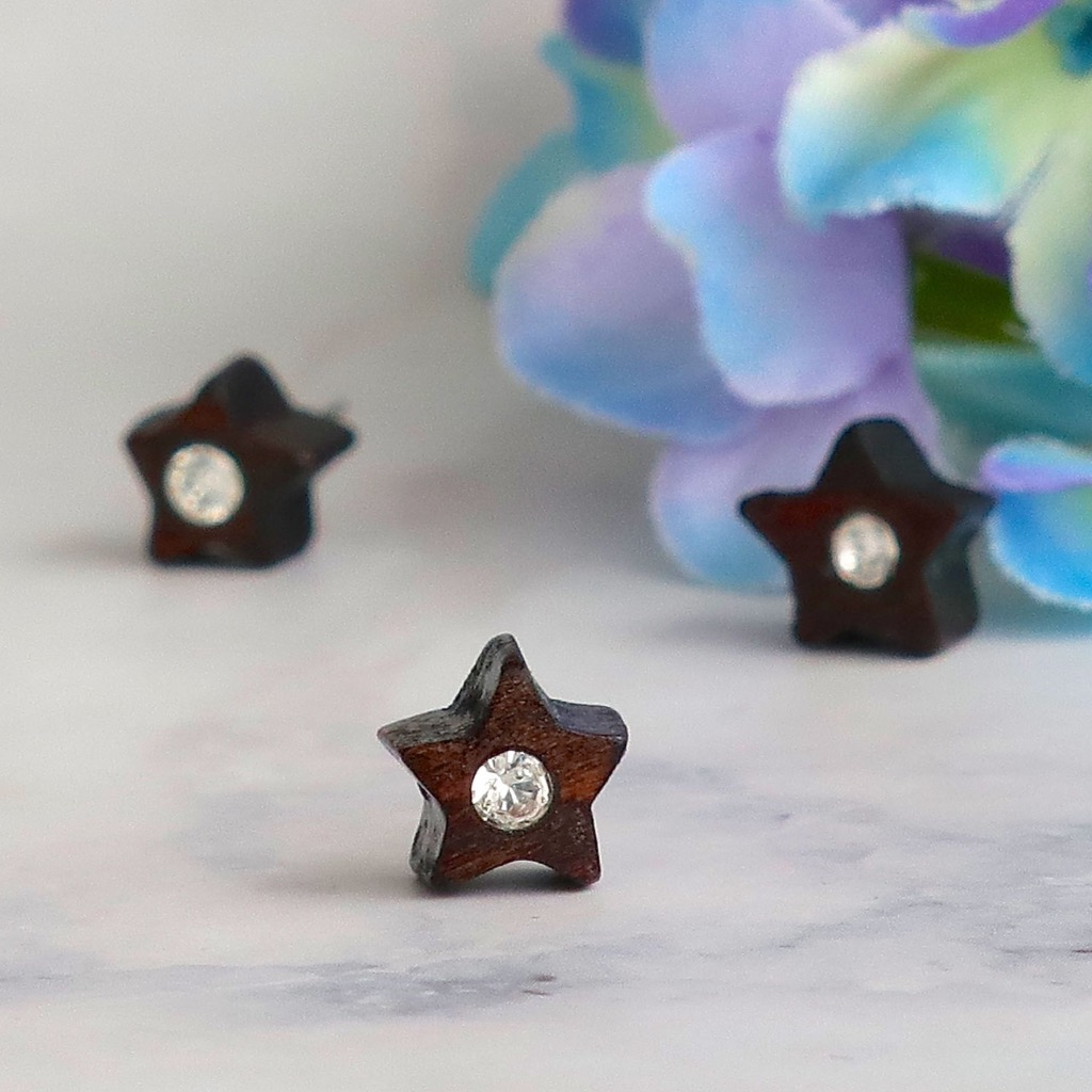 星  原木手工耳環 純銀耳針 單隻 禮物訂製