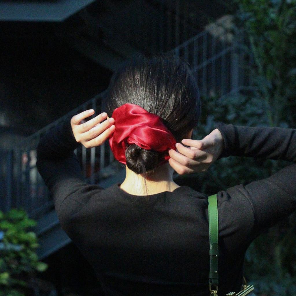 【全人手造】酒紅真絲髮圈