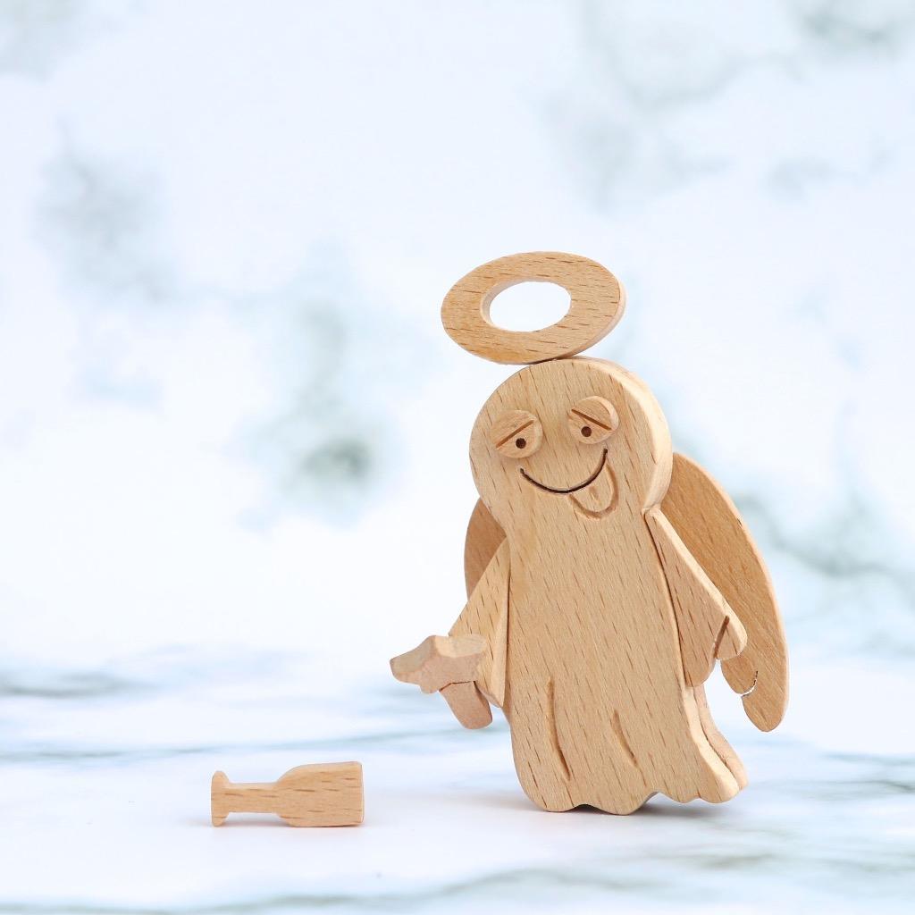 手工木製磁合擺設 木質模型 醉爆天使 禮物訂製