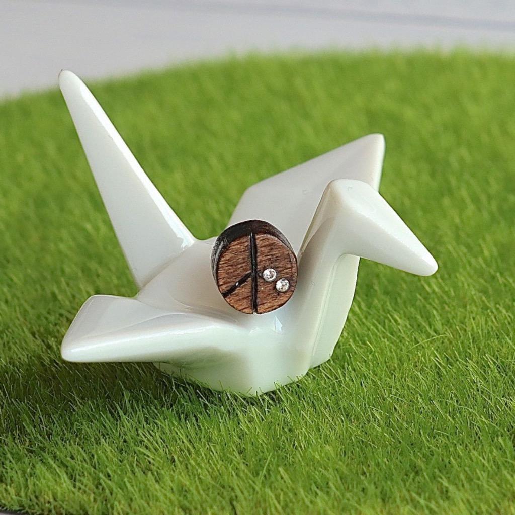 和平  原木手工耳環 純銀耳針 單隻 禮物訂製