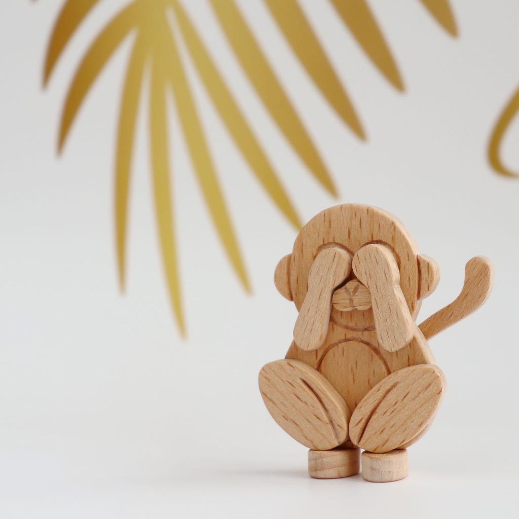 手工木製磁合擺設 木質模型 三猿 - 非禮勿視 禮物訂製