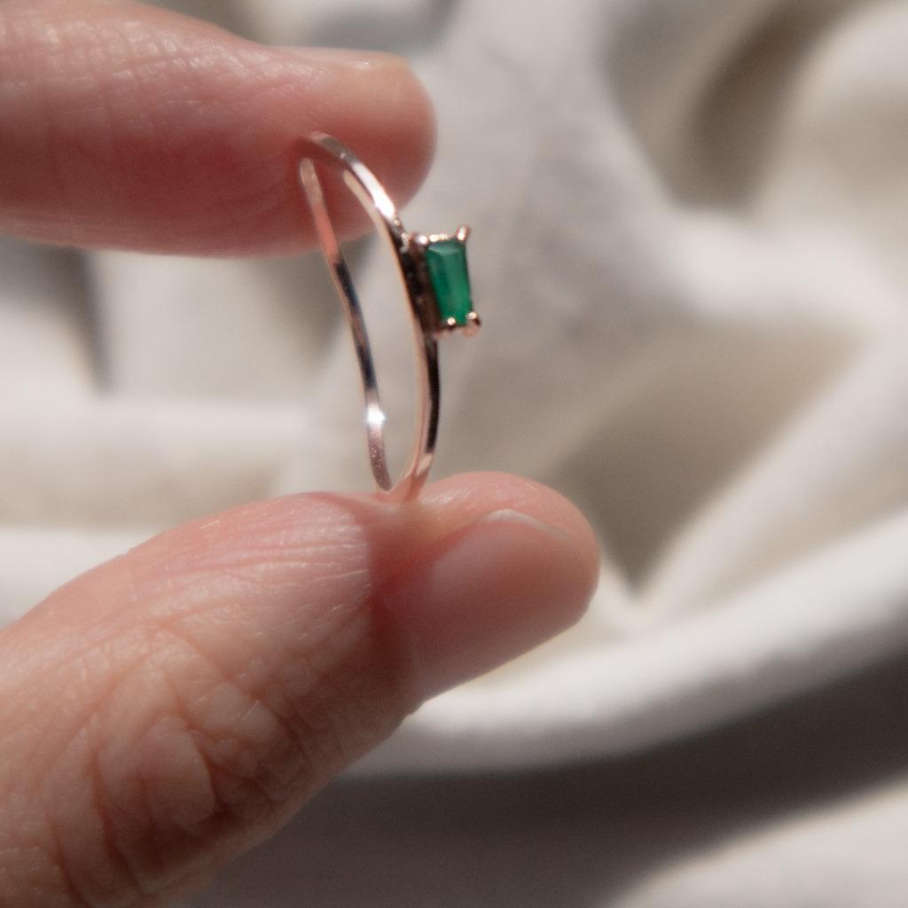 [433 Studio] 925 silver簡約小梯形綠瑪瑙戒指