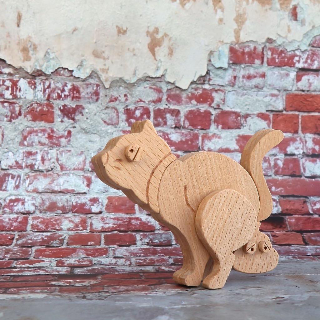 手工木製磁合擺設 木質模型 大便便貓咪 禮物訂製