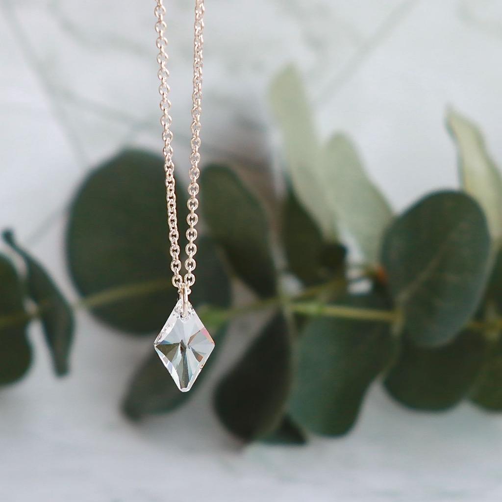 施華洛世奇 菱形墜吊水晶頸鏈 禮物訂製