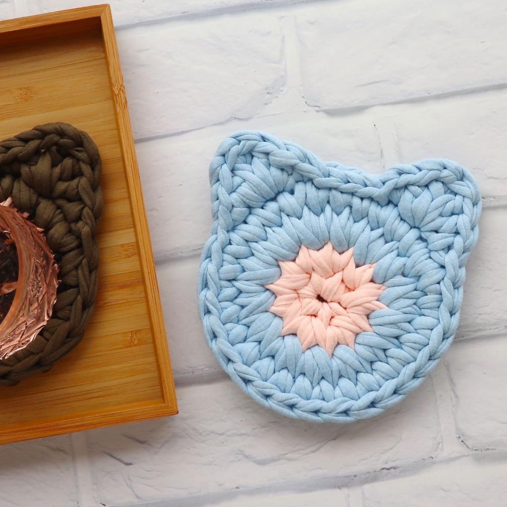 貓頭 布條手工鉤織杯墊 / 隔熱杯墊 粉紅+粉藍 禮物訂製