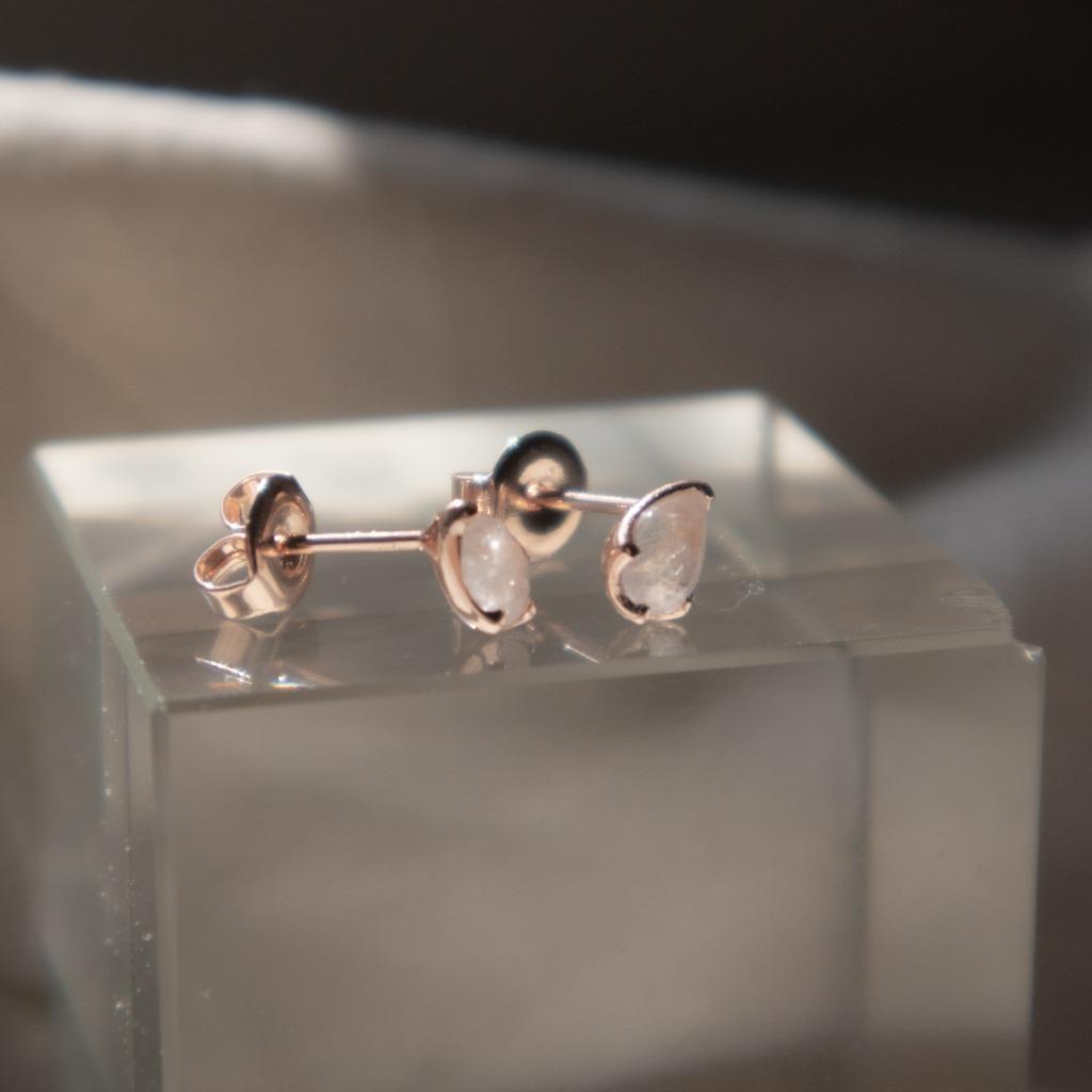 [433 Studio]925 silver 水滴魔鏡彩虹月光石耳環