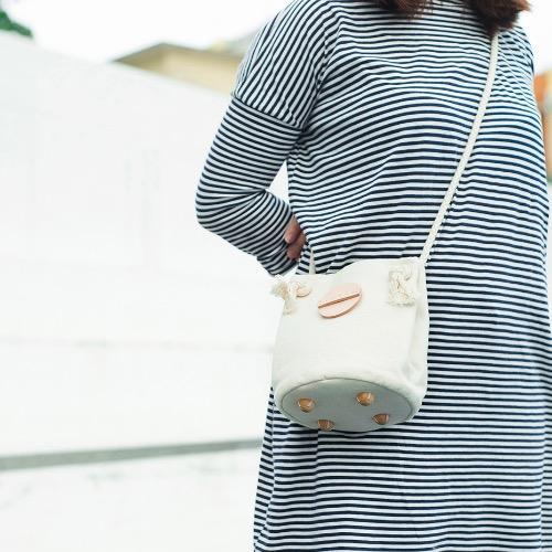 米色帆布小圓筒袋