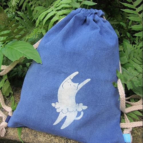 海袋-中性束口背包 - 跳舞貓/ 植物染