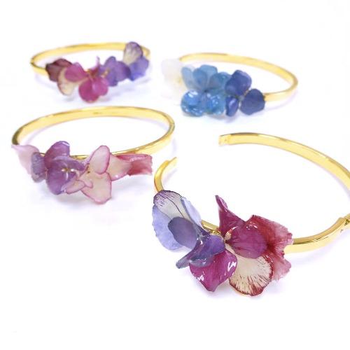 《硬膠花癡AGFC》(受注製作)全立體真花製作 24K鍍金手環 可開口手鐲