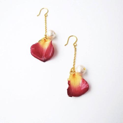 《硬膠花癡AGFC》(受注製作)全立體真花製作 棉棉珠花瓣 長款24K鍍金耳勾 耳環
